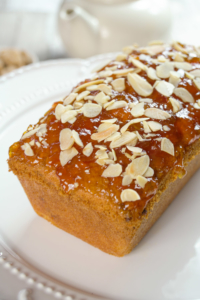 Orange and Almond Loaf Cake with a Marmalade top