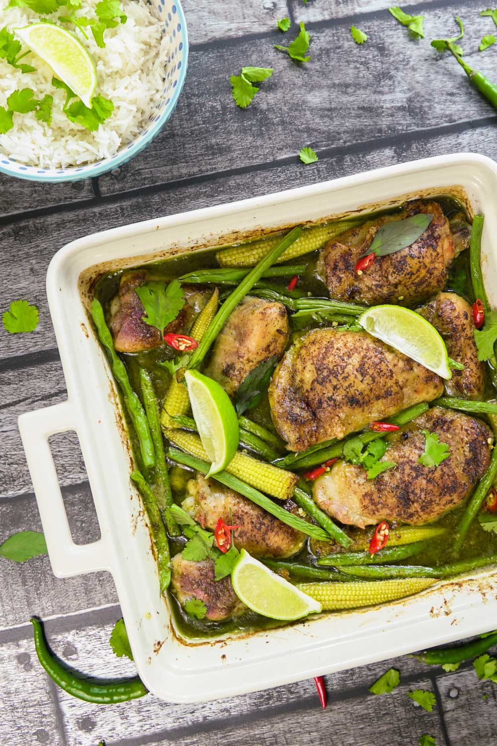 Thai Green Chicken Curry Traybake Recipe - Globe Scoffers | globescoffers.com