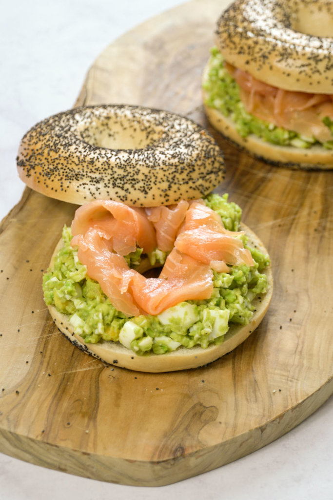 "Avocado ""Egg Mayo"" Bagels With Smoked Salmon"