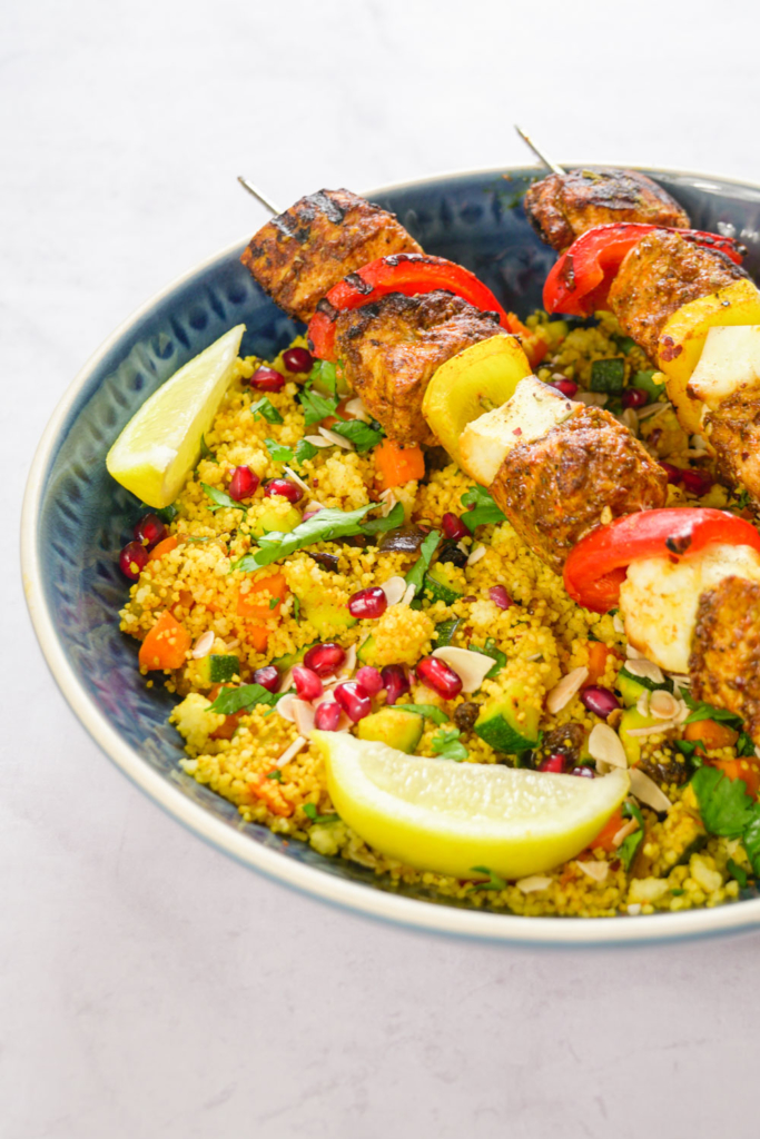 hicken and Halloumi Skewers with colourful couscous